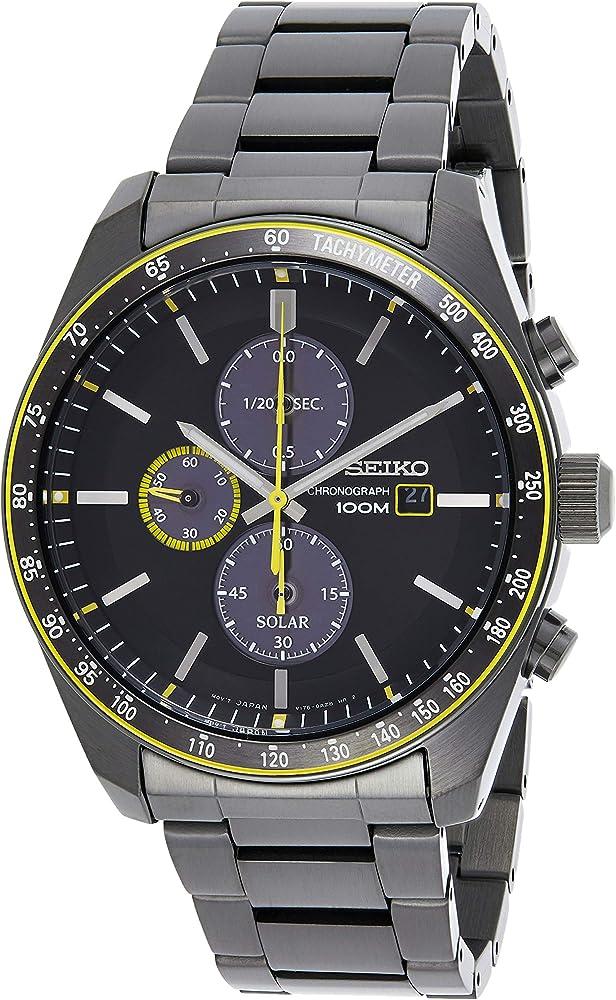 Seiko,cronografo al quarzo a carica solare,in acciaio con rivestimento in carbonato di titanio SSC723P1