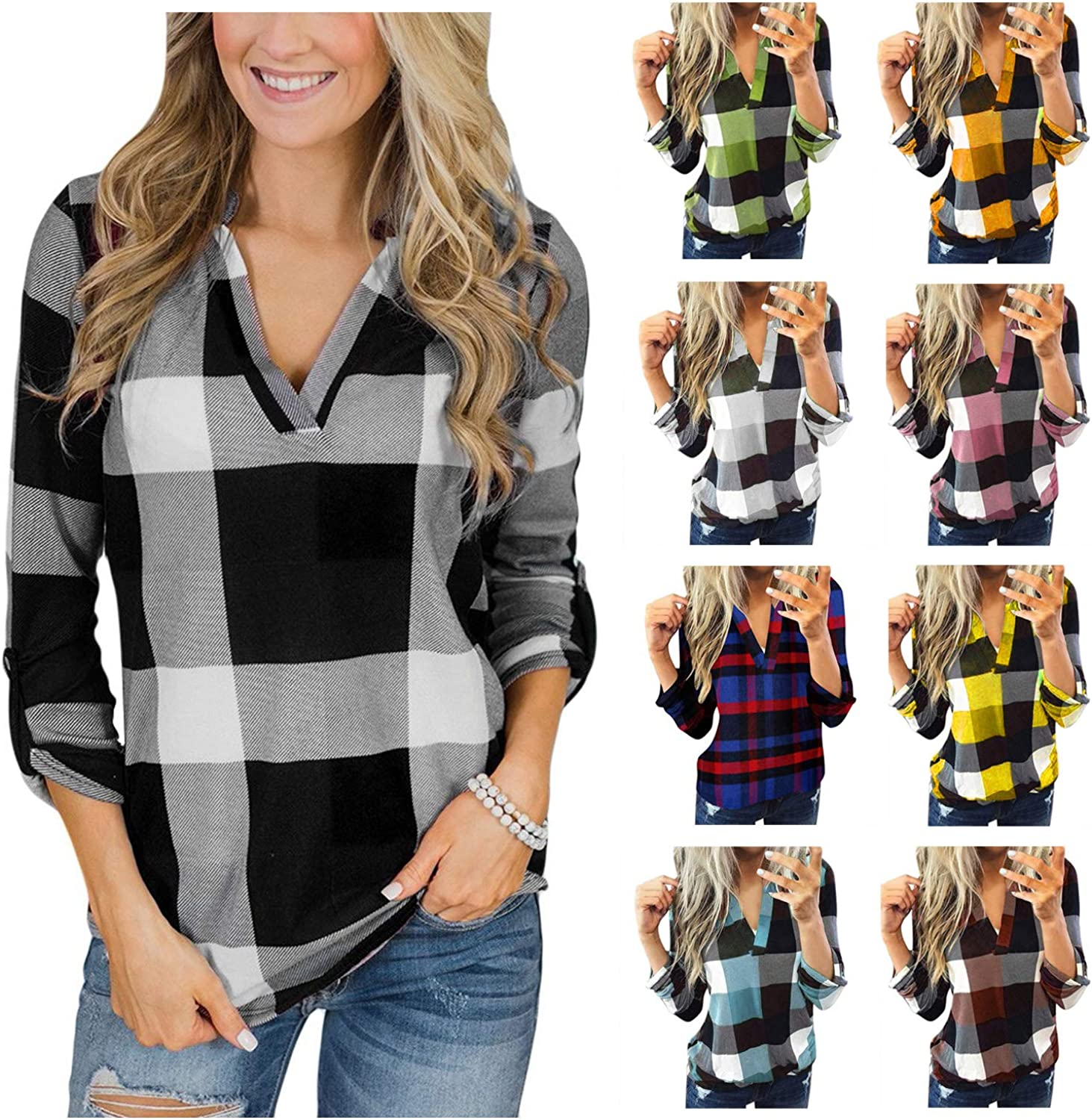 Women Long Sleeve Flannel Plaid Shirt Pullover Sexy V Neck Tops Casual Loose Boyfriend Tunic T-Shirts Blouses Plus Size