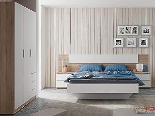 comprar comparacion Miroytengo Pack Muebles Dormitorio Estilo nórdico para Camas 150 cm (Cabezal+2 mesitas+Armario)