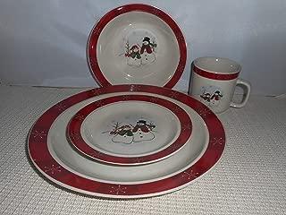 Royal Seasons Christmas 4 Piece Dinnerware Snowman Snowflakes Dinner Plate Red Border