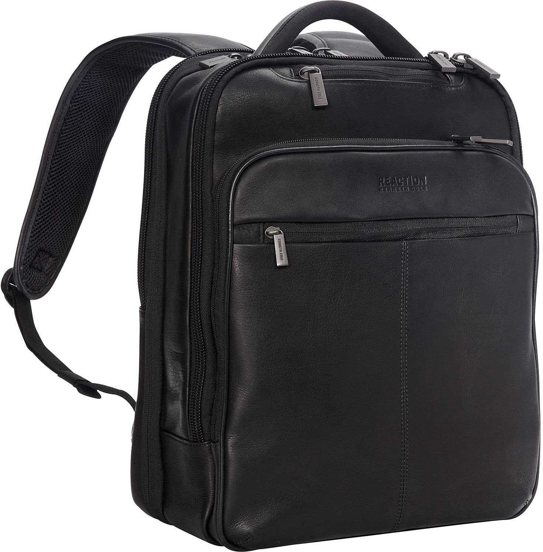 Kenneth Cole Reaction Manhattan Colombian Leather Laptop Backpack RFID Business, School, Travel Computer Bookbag, Black, Slim