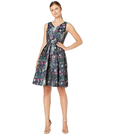 Tahari by ASL Sleeveless Printed Jacquard Floral Dress (Black/Magenta/Green) Women