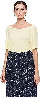 BRAVE SOUL T-Shirts For Women, PASTEL YELLOW, Size XS