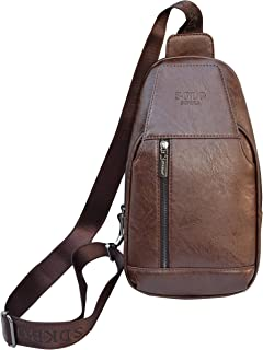 Sling Backpack Vintage Shoulder Chest Pack Crossbody Backpacks PU Leather Mens Travel Casual Daypack
