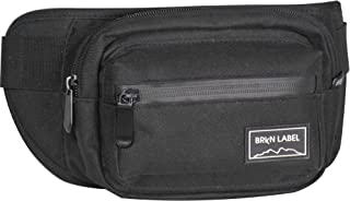 BRKN LABEL Water Resistant Fanny Pack with Two Zip Compartments, Secret Pocket and Adjustable Strap for Festivals, Travelling, Hiking, Running, Cycling and More