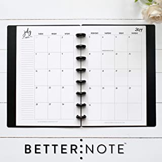 BetterNote July 2019- June 2020 Monthly Calendar for Disc-Bound Planners, Fits 8-Disc Levenger Circa Junior, Arc, Half Letter Size 5.5