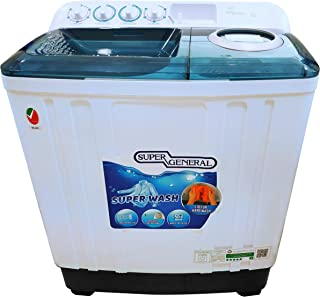 Super General 12 kg Twin-tub Semi-Automatic Washing Machine, White/Blue, efficient Top-Load Washer with Lint Filter, Spin-...