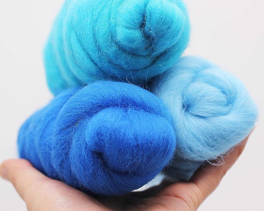 3 2OZ Kit Merino Wool Roving Top - Blue Tone 21um Needle Felting DIY Craft Materials 3.3 Yards (Blue Tone-6OZ))