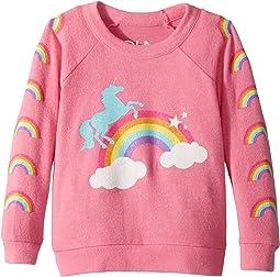 Love Knit Raglan Unicorn Rainbow Pullover (Toddler/Little Kids)