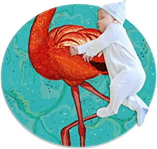Soft Round Area Rug 70x70cm/27.6x27.6IN Anti-Slip Floor Circle Mats Absorbent Memory Sponge Standing Mat,Flamingo and Marble
