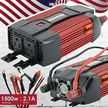 Audiotek 1500W Watt Power Inverter DC 12V AC 110V Car Converter USB Port Charger