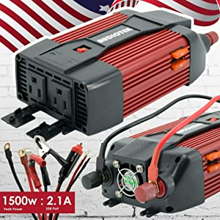 AUDIOTEK Pi1500 DC To AC Pro Portable Heavy Duty Power Inverters 1200W MAX with 2X 110V AC Outlet / USB Output For Battery...