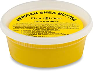 Plant Guru African Shea Butter 8 oz. Raw Unrefined 100% Pure Natural Yellow Grade A - DIY Body Butters, Lotion, Cream, lip Balm & Soap Making Supplies