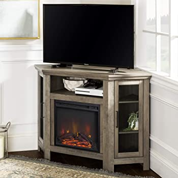 """Walker Edison Furniture Company Tall Wood Corner Fireplace Stand 52"""" Storage Cabinets Flat Screen Universal TV Console Living Room Shelves Entertainment Center, 48 Inch, Grey Wash"""