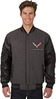 Men's Chevy Corvette Wool & Leather Reversible Jacket with Embroidered Emblems in Black or Gray