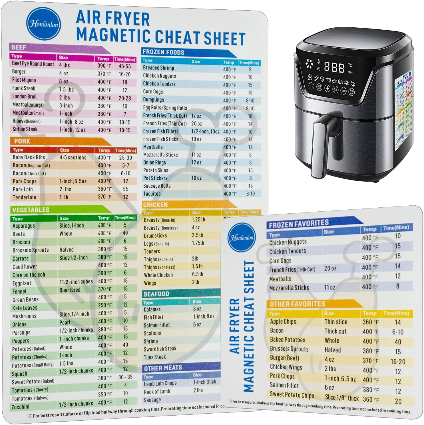 2PCS air fryer accessories cooking accessories air fryer magnetic cheat sheet set air fryer cheat sheet magnets air fryer cooking times chart