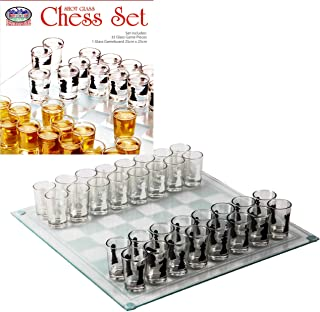"Matty's Toy Stop Small Shot Glass Chess Set Drinking Game Set (10"" x 10"") with Plastic Shot Glasses (1.5"") and Glass Game ..."