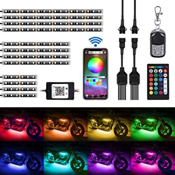 6pcs Motorcycle LED Lights 18 Color Accent Glow Ground Effect Atmosphere Lights Lamp Kit with Wireless Remote Controller