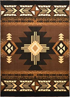Western Essence Rugs 4 Less Collection Southwest Native American Indian Door Mat Area Rug Design Brown Chocolate 318 (2'X3'4'')