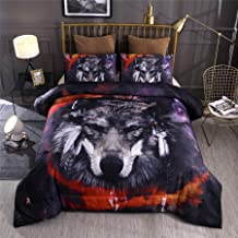 A Nice Night Multicolor Galaxy Feral Wolf Printed,for Boys and Girls Quilt Comforter Sets with Pillowcases Child Bedding Sets (Multi-A, Queen)