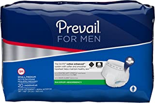 Prevail Maximum Absorbency Incontinence Underwear for Men, Small/Medium, 20 Count