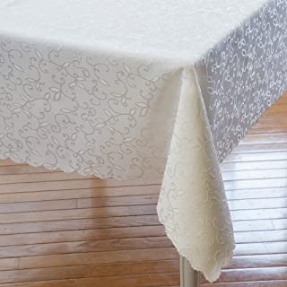 Turkish Ivory Tablecloth Polyester Table Linen - Stain Resistant Wrinkle free Non-Iron Oblong Square Round Thanksgiving Tablecloth Christmas Tablecloth New Year Eve Gift (IVORY, Rectangle 60