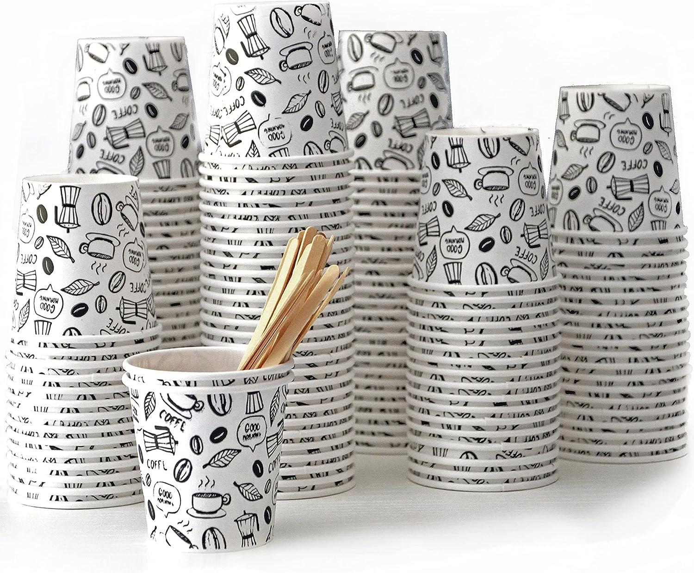 150 vasos café desechables , vasos cartón, vasos desechables café de 110ml con agitadores de madera. Ideales para café para llevar, vasos de cartón reciclables