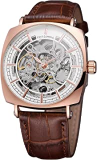 Forsining Men's Quality Automatic Self-winding Skeleton Square Watch with Genuine Leather Strap