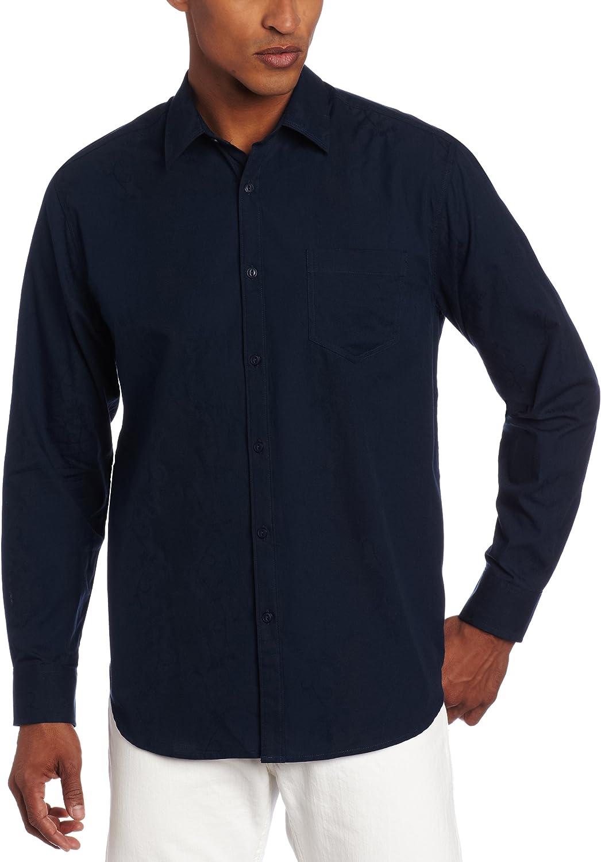 Cubavera Men's Long Sleeve Jaquard Fabric Cotton Woven Shirt