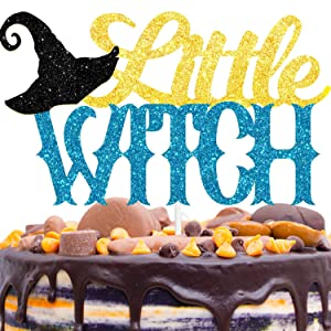 Little Witch Cake Topper Decorations with Ghost for Halloween Scary Theme Baby Shower Birthday Party Decor Supplies Black Gold
