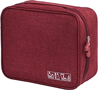 HOYOFO Multi-functional Cosmetic Bags Travel Toiletry Bag Waterproof Square Make Up Bag Organizer,Wine Red