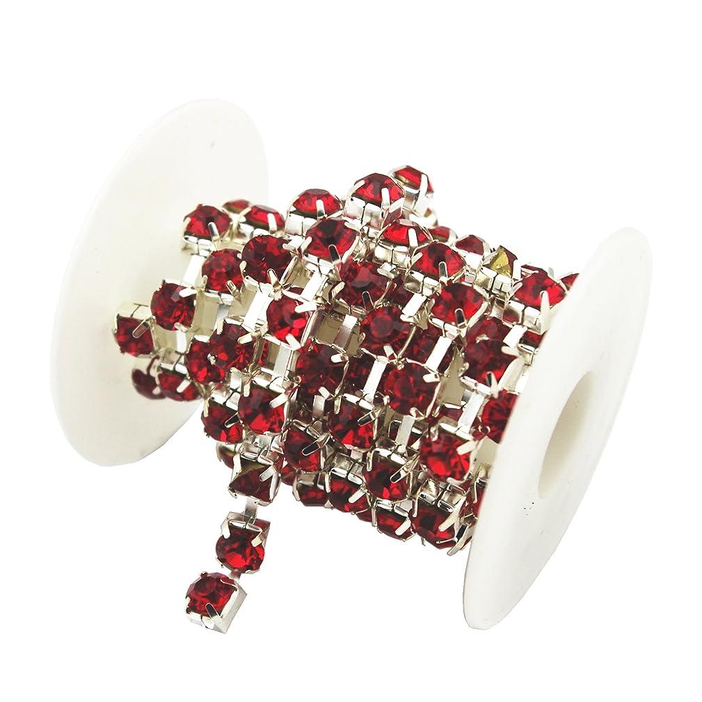 AEAOA 1 Yard 8mm Crystal Rhinestone Trims Chain Wedding Dress Sewing Craft Embellishments (Silver+Light Siam Rhinestone)