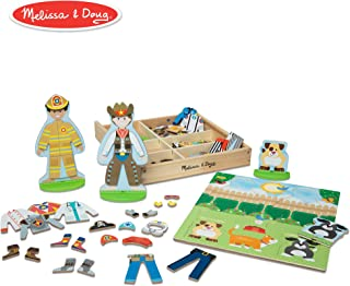 Melissa & Doug Occupations Magnetic Dress-Up Wooden Dolls Pretend Play Set (81 pcs)