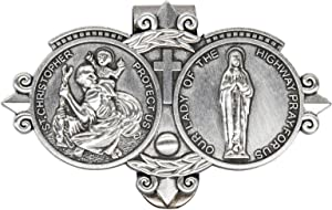 ForFine St Christopher Our Lady Visor Clip Auto Sun Visor Accessories Bless Driving Safety Gift for Parent, Family, Friend, New and Old Driver (1 PCS)