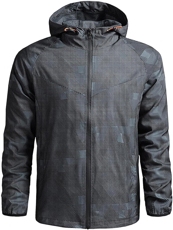 POHOK Men's Casual Lightweight Jackets Autumn&Winter Long Sleeve Full Zip Outdoor Waterproof Thin Coats Hooded Jacket