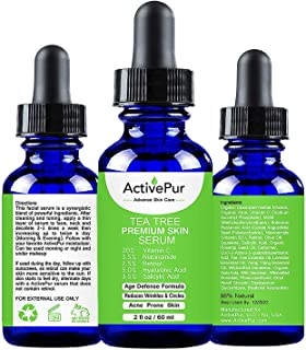 ActivePur Tea Tree Serum Oil for Acne Facial Skin Serum 20% Vitamin C Hyaluronic Acid Retinol treats Hyperpigmentation Wrinkle Anti Aging Dark Spots Blemishes & Acne Scars (Double Size - 2 OZ/60 ml).