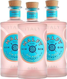 Malfy Gin Rosa 3er Set, italienischer Gin mit Wacholder, Alkohol, Schnaps, Flasche, 41%, 3 x 700 ml