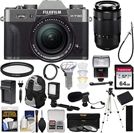 $1699 » Fujifilm X-T30 Wi-Fi Digital Camera & 18-55mm XF Lens (Charcoal) + 50-230mm Lens + 64GB Card + Battery + Charger + Mic + LED Light + Tripod + Flash + Backpack Kit
