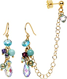 Handcrafted Gold Plated Cartilage to Earring Chain Created with Swarovski Crystals
