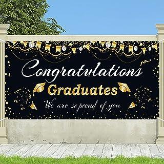"Graduation Banner 2021 Graduation Decorations 2021 Extra large 71"" x 35"" Congrats Grad Party Supplies,Backdrop,Indoor/Outd..."