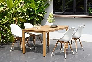 Brampton Capri 5 Piece Rectangular Outdoor Dining Set | Eucalyptus with Teak Finish| Perfect for Patio, White