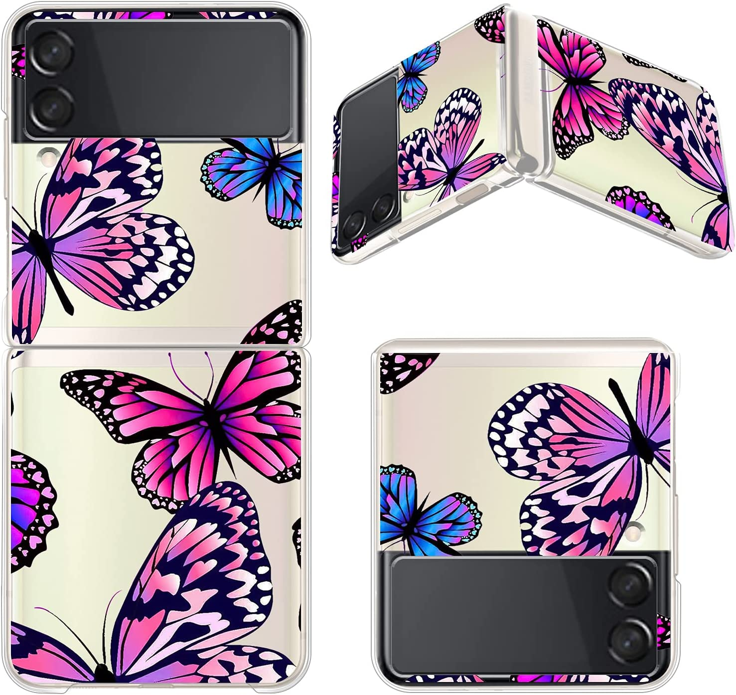 ITELINMON Clear Case Compatible with Samsung Galaxy Z Flip 3, Cute Design Pattern Hard PC Shockproof Protective Case for Women Girls, Ultra Slim Transparent Cover for Galaxy Z Flip 3 (Butterfly)