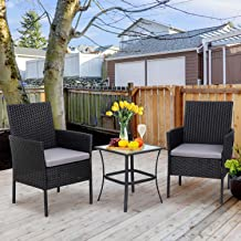Shintenchi 3 Pieces Outdoor Patio Furniture Set, Portable Rattan Chair Wicker Furniture for Backyard Porch Lawn Garden Bal...