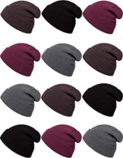 12 Pack Kids Winter Beanie Hats Warm Stretch Knit Beanies for Boys and Girls