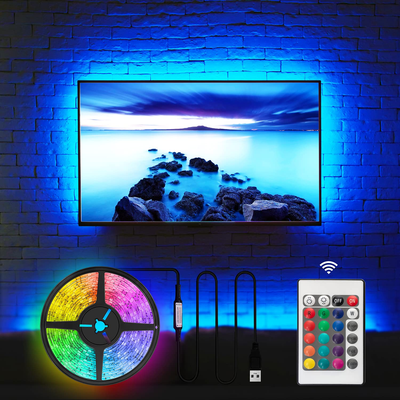 TV LED Backlight for 32-60 Inch, Hamlite 8.2Ft LED Strip Lights W-Shape Easy-Curve Design, Syn on/Off with TV, 16 Colors Changing TV Back Lights Bias Lighting, Under TV Stand, Soundbar, PC