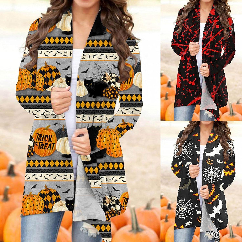 Cardigan for Women, Halloween Long Sleeve Cardigan Open Front Sweaters Funny Pumpkin Black Cat Ghost Lightweight Coat