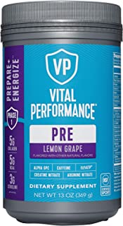 Low Sugar PreWorkout Powder - Vital Performance Lemon Grape - NSF for Sport Certified, 140mg Caffeine, No Artificial Sweet...