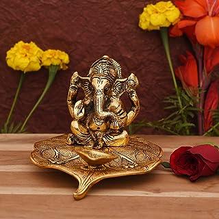 CraftVatika Ganesha on Leaf - Ganesh with Diya - Lord Ganesha Metal Hand Craved for Home Temple Pooja Mandir Decorative Gift