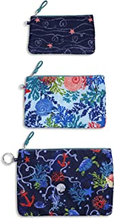 Vera Bradley Women's Set of 3 Pencil Pouch Toiletry Travel Bags Trio (Shore Thing), Large
