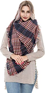 REEMONDE Plaid Blanket Winter Scarfs for Women Oversized Tartan Cozy shawls and wraps